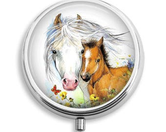 White Horse with Foal Pill Box Case Trinket Box Vitamin Holder Medicine Box Mint Tin Gifts For Her