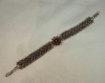 Sterling Filigree Link Bracelet, Flower Link Filigree Silver Bracelet