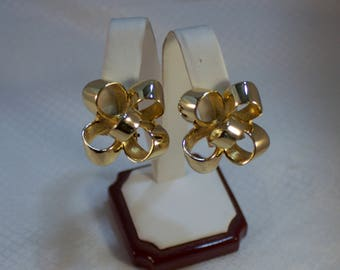1980's Donald Stannard Gold Bow Clip Earrings