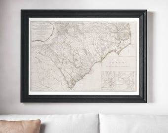 Vintage 1794 Map of South Carolina & North Carolina on Canvas