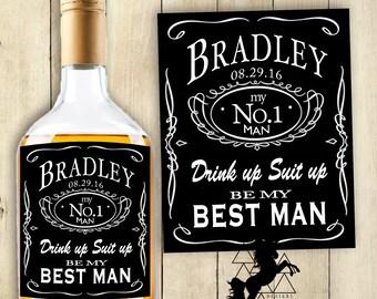 Best Man Label Groomsman Label Whiskey Label Be My Best Man Label PRINTABLE Label