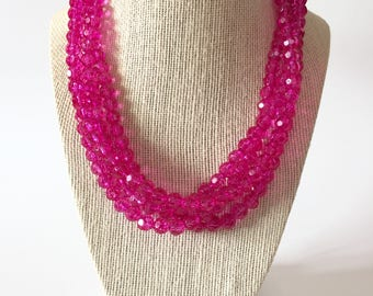 Hot Pink Crystal Chunky Statement Necklace