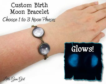 Glowing Custom Moon Date Bracelet - 1 to 3 Moons - Glow in the Dark Personalized Birth Moon Bracelet - Birthday Moon Lunar Phase Jewelry