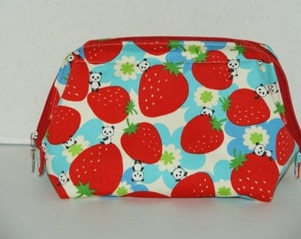 """Wire Frame Zipper Pouch With Pocket / Padded Cosmetic Bag Made with Japanese Cotton Twill Fabric """"Jumbo Strawberries and Mini Pandas"""""""