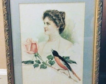 Beautiful Victorian Lady Watercolor Lithograph Print Robin/Rose/Woman by Maude Stumm