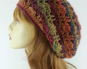 Autumn Crochet Slouchy Beanie for Women Autumn Hat for Women Fall Colors Slouchy Beanies for Women Autumn Crochet Womens Slouchy Beanie Hats