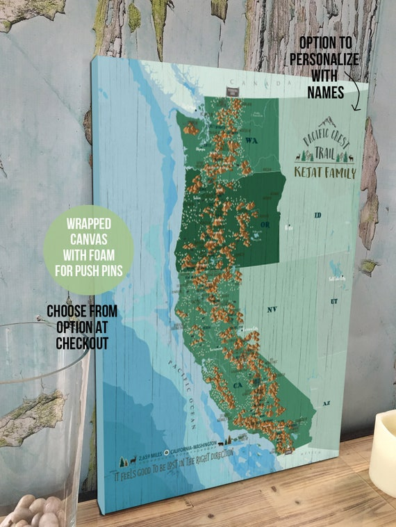 Pacific crest pacific crest trail map thru hiker gift push like this item gumiabroncs Images