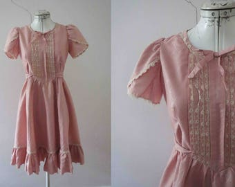 50s 60s Antique Pink Lolita Dolly Dress Small