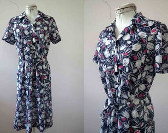 70s Navy Blue Pink Tulip Print Floral Shirt Dress Small Medium