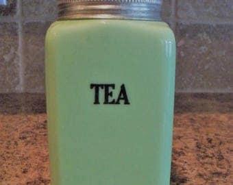 ON SALE FREE Usa Shipping-Vintage McKee Jadeite 28oz Tea Canister Jadite
