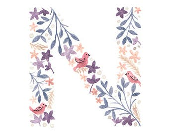 M - O Floral Monogram Letter Print. 5x7 Initial Print. Individual Letter Wall Art. Customisable Name Print. Nursery Art. Baby Gift.