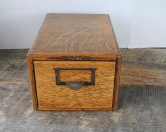 Vintage Globe Wooden Single Index Card File Box or Drawer