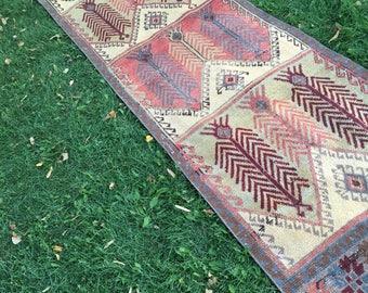 TURKISH RUNNER,Vintage Handwoven Low Pile Distressed Oushak Runner Rug,One  Of A Kind