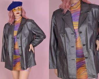 90s Gunmetal Leather Coat/ 1X/ 1990s/ Jacket