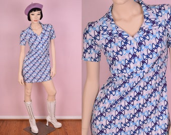 90s Does 60s Psychedelic Print Mini Dress/ XSmall/ 1990s/ Summer/ Short Sleeve