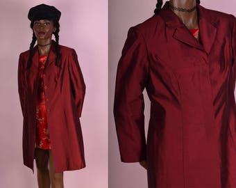 90s Red Dupioni Silk Coat/ US 8P/ 1990s/ Jacket