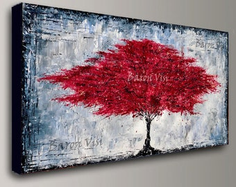 abstract Painting Acrylic painting tree red large canvas home office interior decor wall art modern Textured contemporary Visi custom X