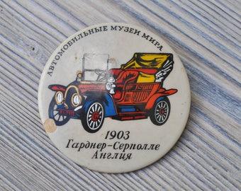 "Vintage USSR badge,pin.""Retro car"""