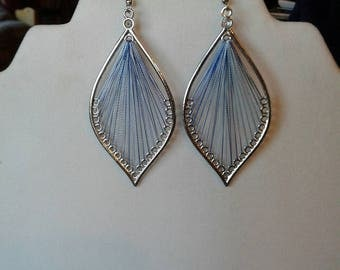 SALE Beautiful Blue, White and Silver Leaf Thread Earrings Native, Hippie, Boho, Southwestern, Gypsy, Great Gift Ready to Ship