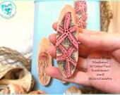 Pink Starfish Magnet, Driftwood Pyrography Magnet, #DWM8