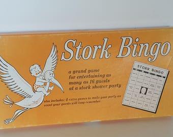Stork Bingo Game for Baby Showers Vintage