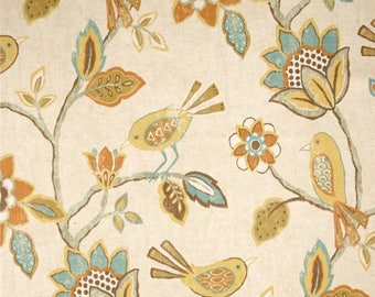 Two 96 x 50 Custom   Curtain  Panels  -  Bird Floral - Mesa - Blue Green Orange Brown