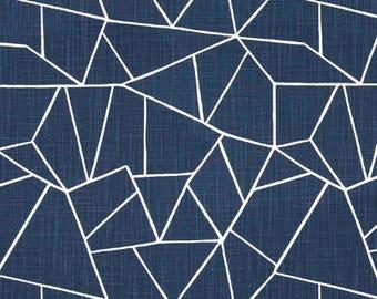 "Two 96"" x 50""  Custom Curtain Panels  - Geometric Puzzle - Navy Blue"