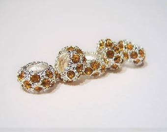NEW Color, Gold, / Light Topaz, New Lower Price, Quantity 5, Crystal , Cheerio, European Charm Bracelet, Beads - Silver Plated Euro