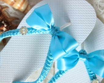 Teal blue flip flops, Turquoise bridal shoes, Blue wedding sandals, Bride Malibu satin bridal slippers, Honeymoon gift, Destination wedding