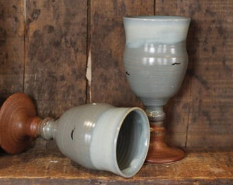 Celtic Beach Wine Goblet tumblers cups by village pottery pei