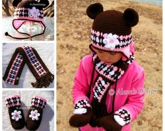 Crochet PATTERN Set Bear Hat Children's Mittens Scarf Girls Toddler Child Winter Set Earflap Hat Adult Scarf Brown Pink Mittens Christmas