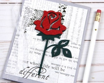Friendship Cards - Red Rose - Greeting Cards Her - Inspirational Quote - Thinking of You - Best Friend - Cricut Cards - Handmade Cards