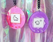 Glitter Pink, Purple or Red Tamagotchi 3D Acrylic NECKLACE / KEYCHAIN