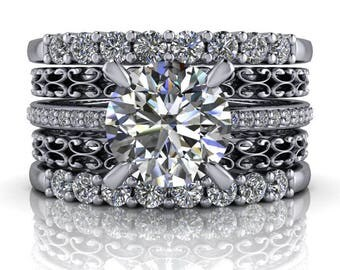 Bridal Set - 14 kt Gold Diamond Engagement Ring - Stacking Wedding Bands - Insieme™ Bridal Stackables