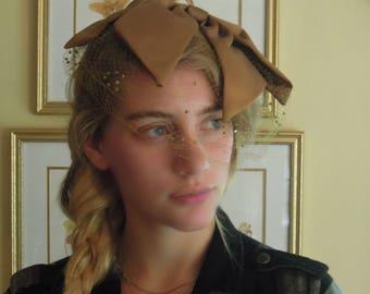 Vintage Fascinator Hat with Brown Silk Flowers / Beige Nude Netting with Velvet Swiss Dots