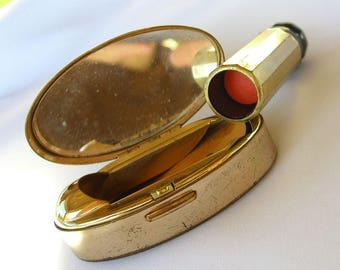 Vintage Max Factor Lipstick Case Compact - Misty Coral