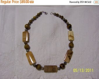 CLEARANCE 36% OFF, Petrified Wood, Tiger's eye and ceramic necklace. platinum plated.