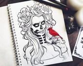 PREORDER Red Cardinal peony ravens grunge roses boho fantasy gothic occult sketch original art A5 (15x20 cm)