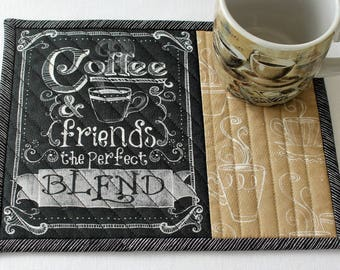 Coffee Mug Rug, Coffee Quote, Blend, Quilted Snack Mat, Black Tan with Words, Candle Mat, Quiltsy Handmade