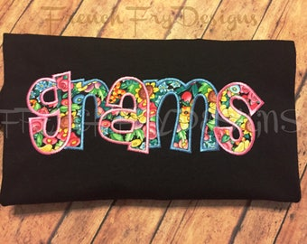 Grandmother Brag applique shirt for GRAMS Customized and Personalized