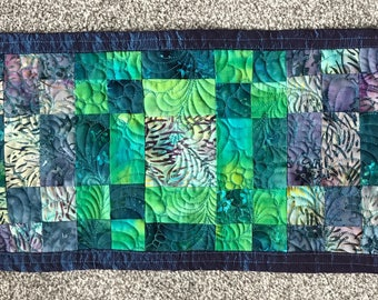 Luxury handmade patchwork quilted silk violin blanket, blue, purple, green.