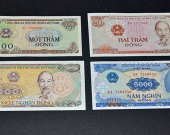 4 Vietnam banknotes 1988 and 1991 Uncirculated