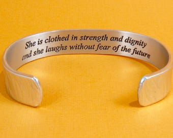 READY TO SHIP ~ Inspirational Gift - She is clothed in strength and dignity .... - Encouragement Gift / Survivor Gift