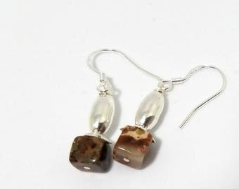 Jasper Semi-Precious Marble Drop Earrings w/Sterling Ear Wires Cube Design in a luscious Multi-Colored Brown(Jewelry by Gerina Designs #486)