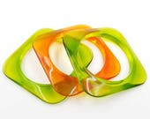 RESERVED FOR J Stackable Lucite Bangles, Square Bangle Bracelet Set, Green Lucite Bangle, Orange Lucite Bangle, Multi Color Lucite