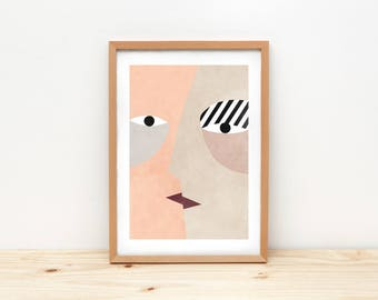 Kiss II - illustration by depeapa, print, poster, A4 wall art, wall decor