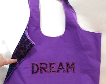 Handbag with pockets Batik DREAM Purse Applique Purple Blue Pink Machine Embroidered Magnetic Snap Boho Bag Handmade Customizable