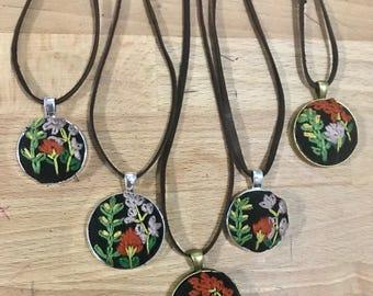 Lavender wildflower pendants