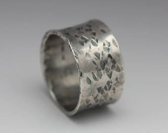 Rustic Sterling Ring, Flared Band, Unique Wedding Band, Hammered Texture, Unisex Band, Size 9.25