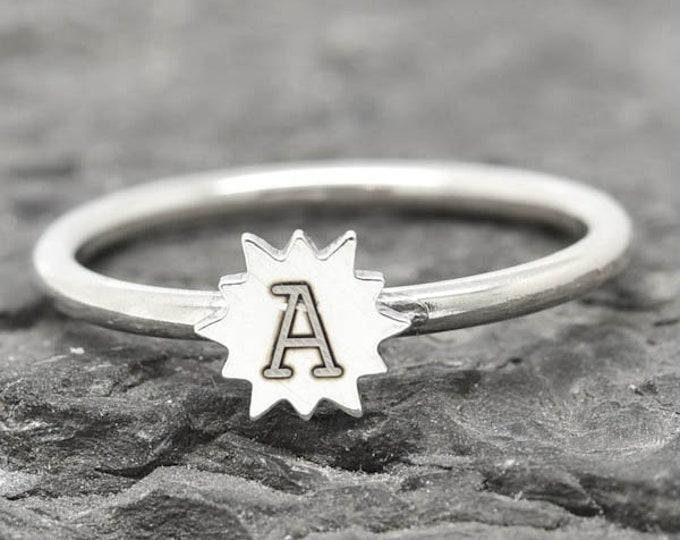 Initial Ring, Star ring, Sun ring, Moon ring, sterling silver ring, crescent moon ring, crescent moon